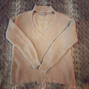 Zara S beige cable knit sweater collar detail